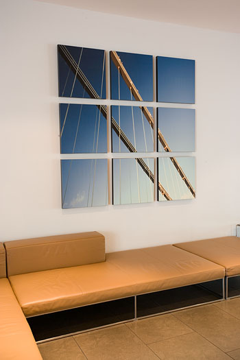 Nine Clifton Suspension Bridge canvases hung as one in Reception