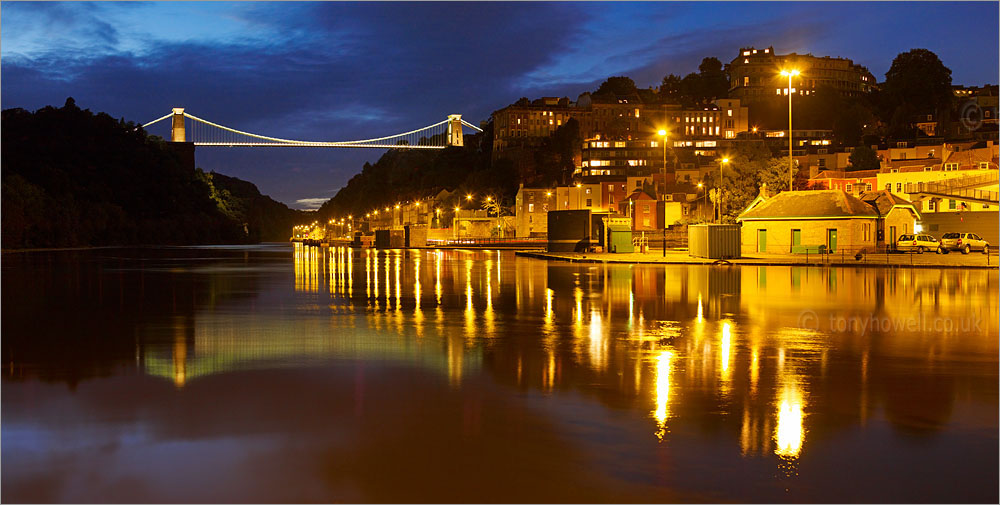 Clifton Suspension Bridge, Bristol, River Avon, Night