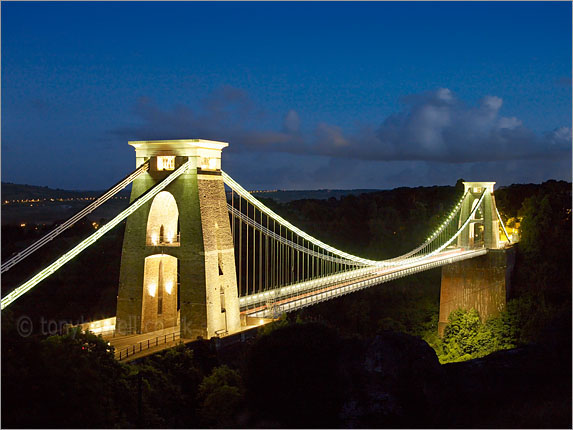 Clifton Suspension Bridge, Lights, Dusk, Bristol