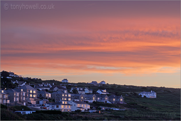 Houses reflecting the afterglow, Porthmeor Beach, St Ives