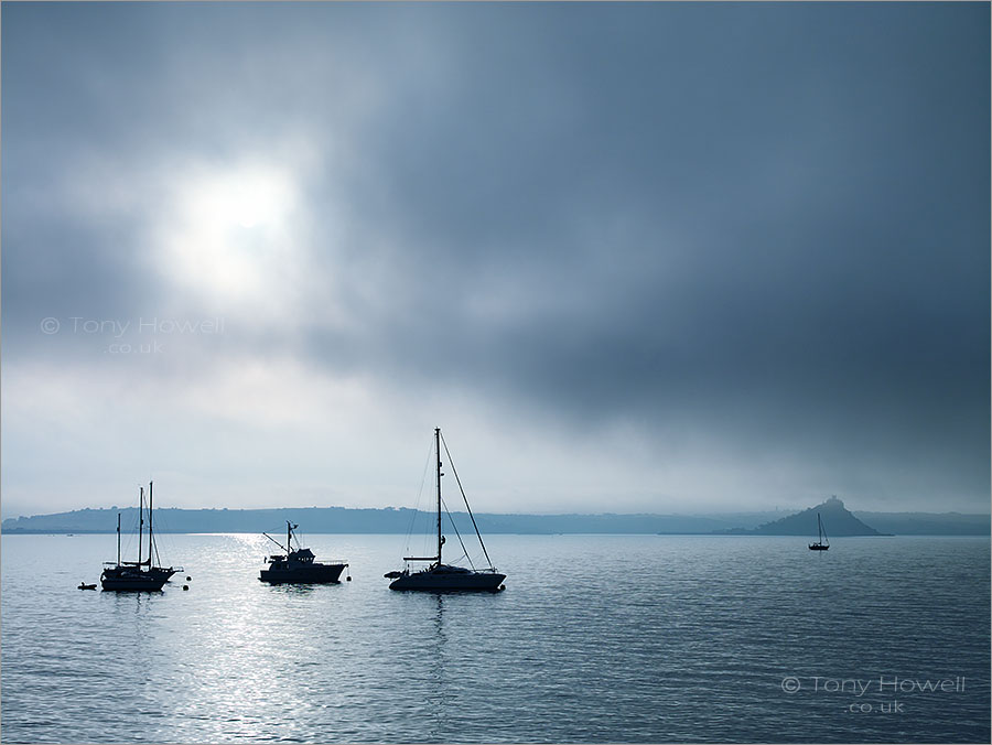 St Michaels Mount, Boats, Sea Fog