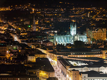 Night view over Bath